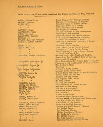 Books purchased for Dumbarton Oaks, 1948