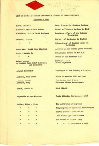 Dumbarton Oaks Garden book list, February 1949