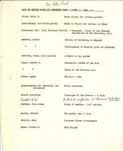 Dumbarton Oaks Garden book list, June 1949
