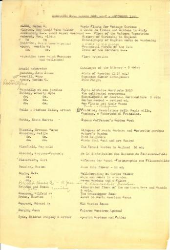 Dumbarton Oaks Garden book list, September 1948