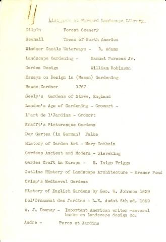 Harvard Landscape Library book list