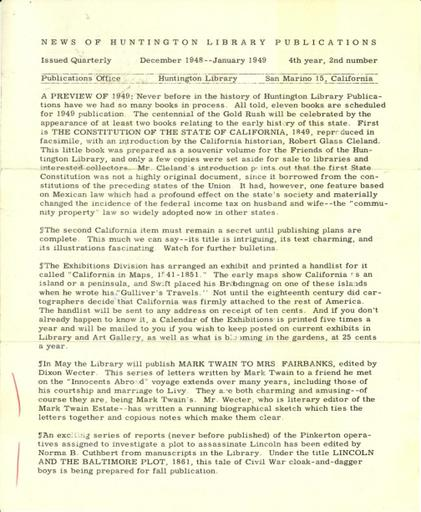 Huntington Library Publications, December 1948-January 1949