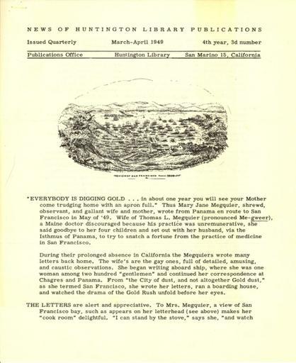 Huntington Library Publications, March-April 1949