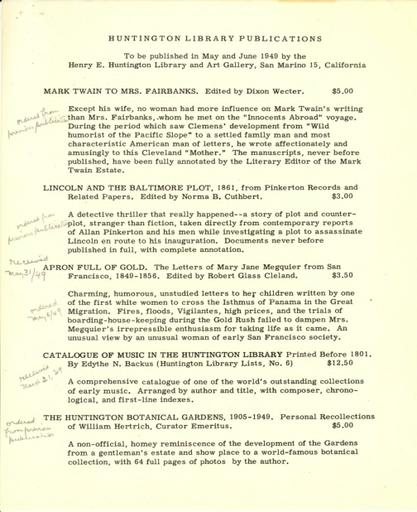 Huntington Library Publications, May-June 1949