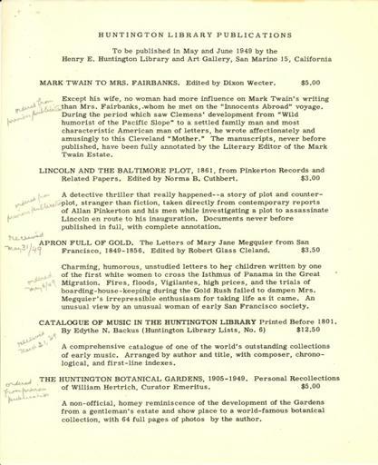Huntington Library Publications, May-June 1949