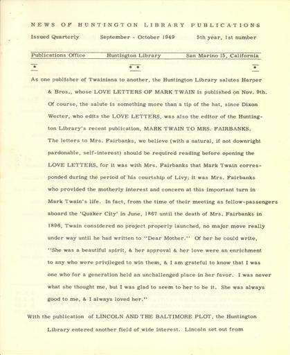 Huntington Library Publications, September-October 1949