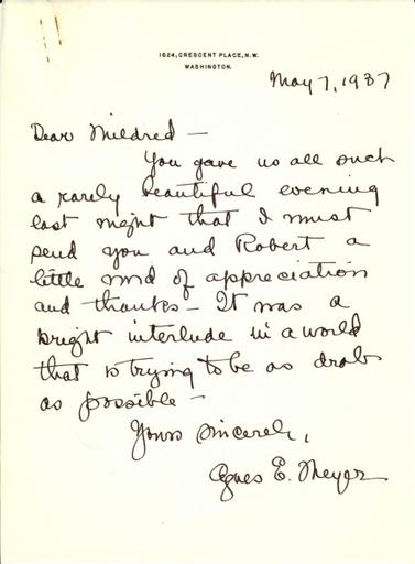 Agnes E. Meyer to Mildred Bliss, May 7, 1937