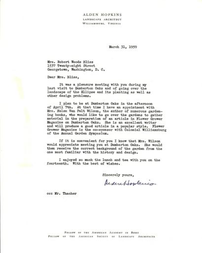 Alden Hopkins to Mildred Bliss, March 31, 1959