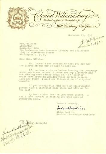 Alden Hopkins to Mrs. Wilkins, December 23, 1959