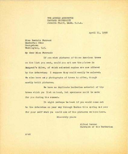 Alfred Rehder to Beatrix Farrand, April 11, 1938