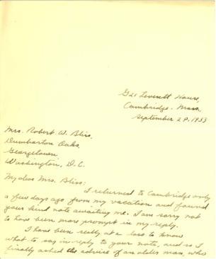 Alston Chase to Mildred Bliss, September 28, 1933