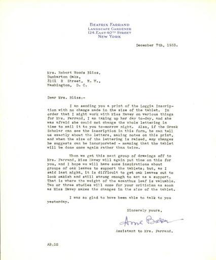 Anne Baker to Mildred Bliss, December 7, 1933