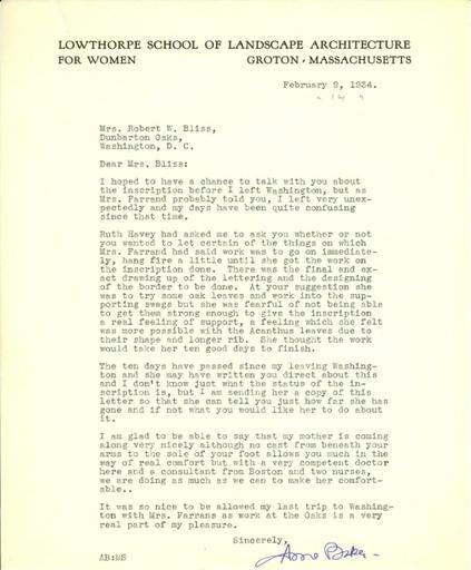 Anne Baker to Mildred Bliss, February 9, 1934