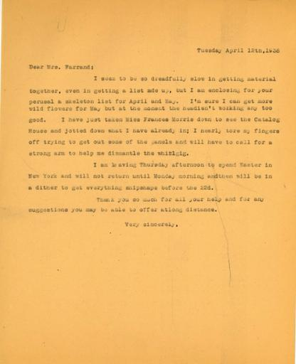 Anne Sweeney to Beatrix Farrand, April 12, 1938