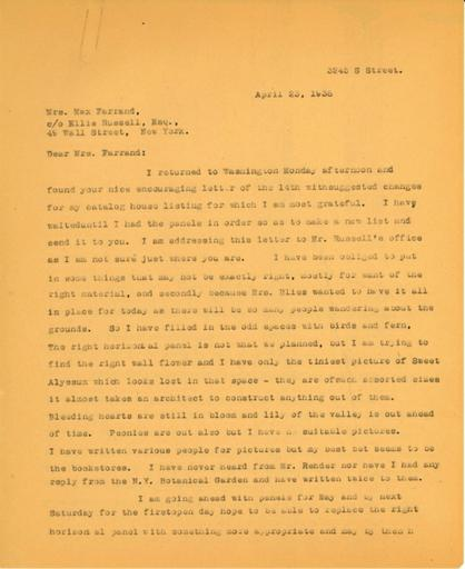Anne Sweeney to Beatrix Farrand, April 23, 1938