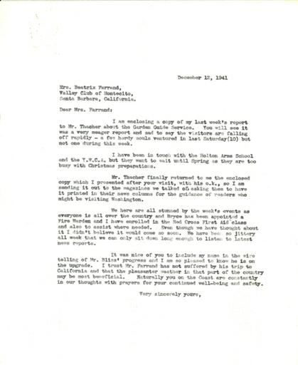 Anne Sweeney to Beatrix Farrand, December 12, 1941