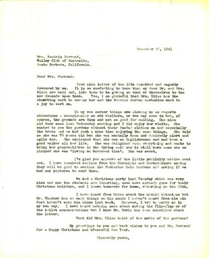 Anne Sweeney to Beatrix Farrand, December 22, 1941