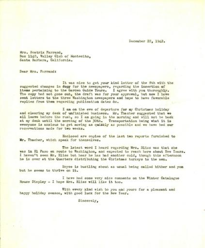 Anne Sweeney to Beatrix Farrand, December 22, 1942
