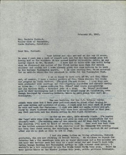 Anne Sweeney to Beatrix Farrand, February 16, 1942