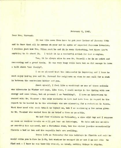 Anne Sweeney to Beatrix Farrand, February 6, 1942