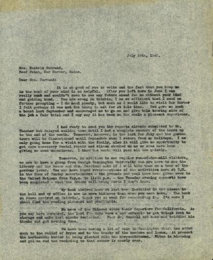 Anne Sweeney to Beatrix Farrand, July 28, 1942
