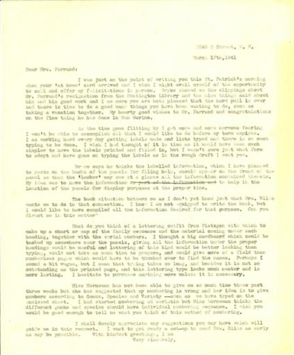 Anne Sweeney to Beatrix Farrand, March 17, 1941