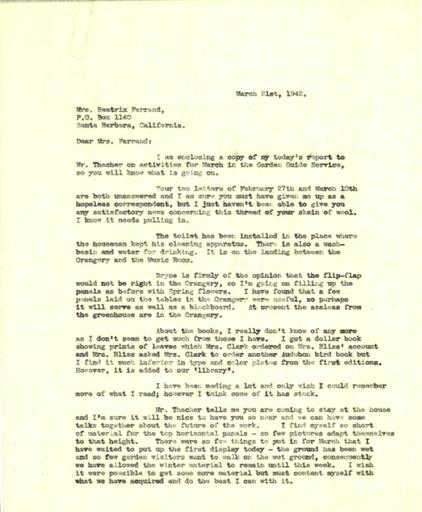 Anne Sweeney to Beatrix Farrand, March 21, 1942