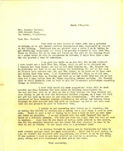 Anne Sweeney to Beatrix Farrand, March 27, 1941