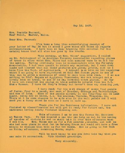 Anne Sweeney to Beatrix Farrand, May 12, 1937