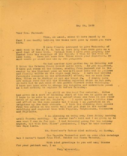 Anne Sweeney to Beatrix Farrand, May 24, 1938