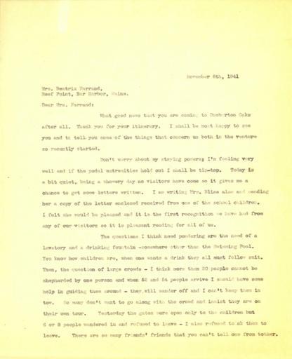 Anne Sweeney to Beatrix Farrand, November 6, 1941