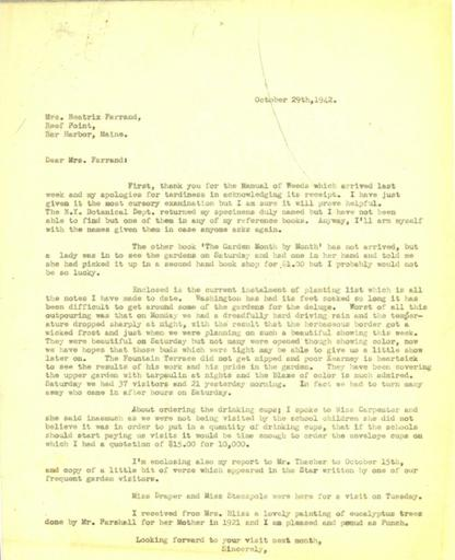 Anne Sweeney to Beatrix Farrand, October 29, 1942