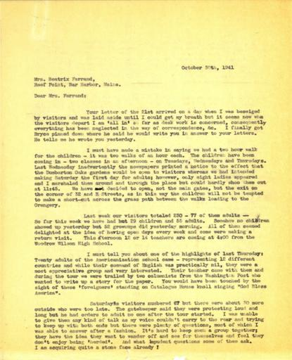 Anne Sweeney to Beatrix Farrand, October 30, 1941