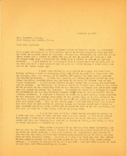 Anne Sweeney to Beatrix Farrand, October 4, 1941