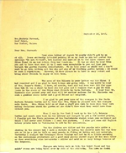 Anne Sweeney to Beatrix Farrand, September 16, 1942