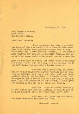 Anne Sweeney to Beatrix Farrand, September 21, 1942