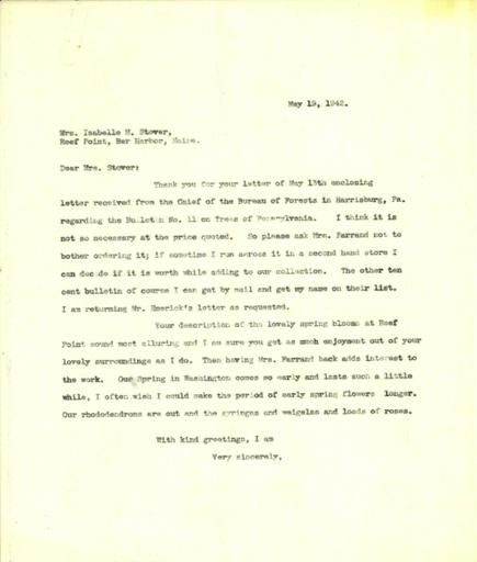 Anne Sweeney to Isabelle Stover, May 19, 1942