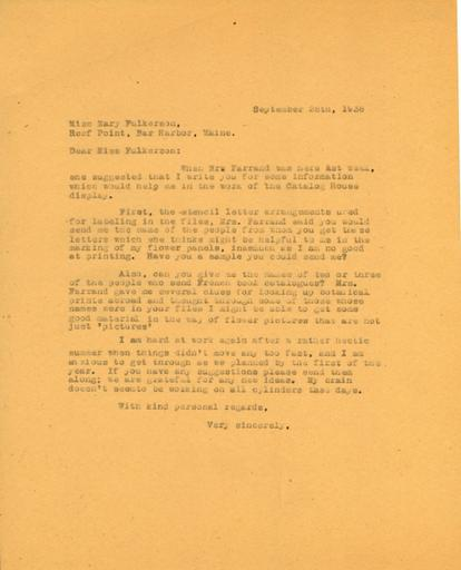 Anne Sweeney to Mary Fulkerson, September 28, 1938