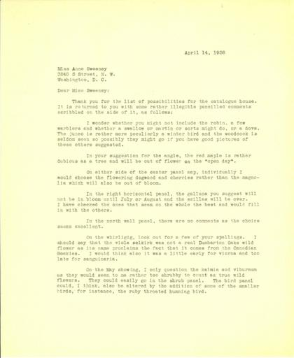 Beatrix Farrand to Anne Sweeney, April 14, 1938