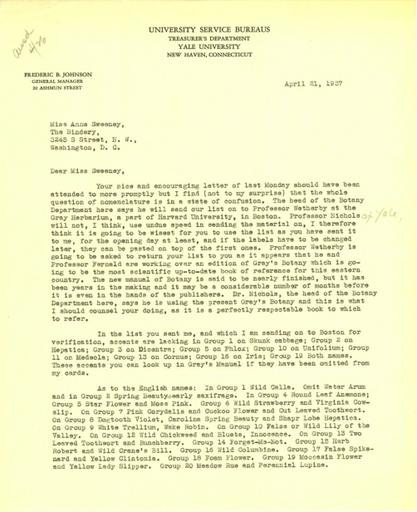 Beatrix Farrand to Anne Sweeney, April 21, 1937