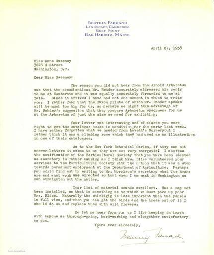 Beatrix Farrand to Anne Sweeney, April 27, 1938