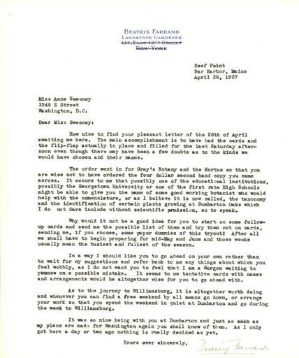 Beatrix Farrand to Anne Sweeney, April 29, 1937