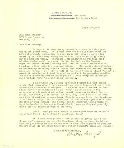 Beatrix Farrand to Anne Sweeney, August 25, 1941 (2)