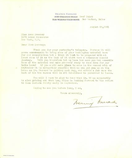 Beatrix Farrand to Anne Sweeney, August 28, 1941 (2)