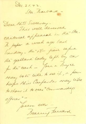 Beatrix Farrand to Anne Sweeney, December 21, 1942