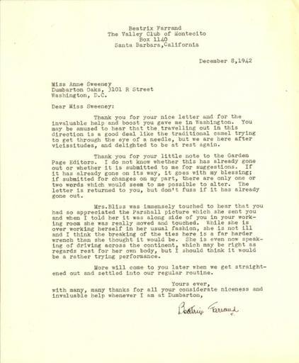 Beatrix Farrand to Anne Sweeney, December 8, 1942