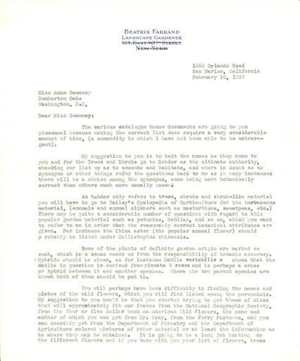 Beatrix Farrand to Anne Sweeney, February 10, 1937
