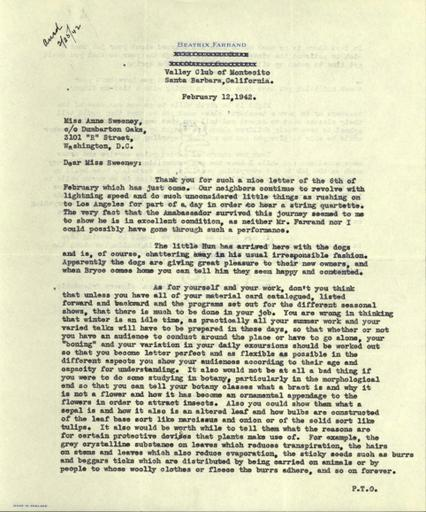 Beatrix Farrand to Anne Sweeney, February 12, 1942