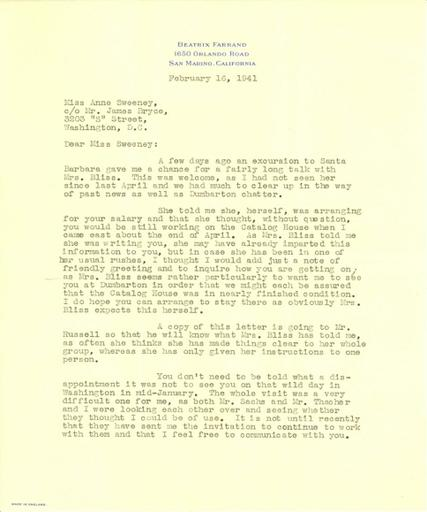 Beatrix Farrand to Anne Sweeney, February 16, 1941