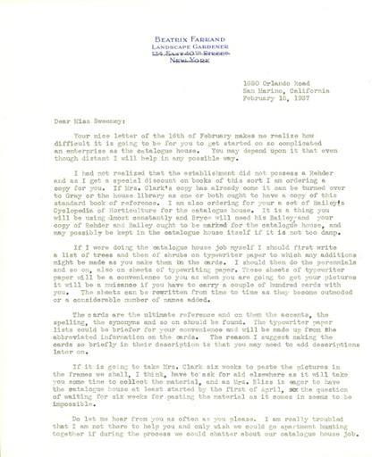 Beatrix Farrand to Anne Sweeney, February 18, 1937